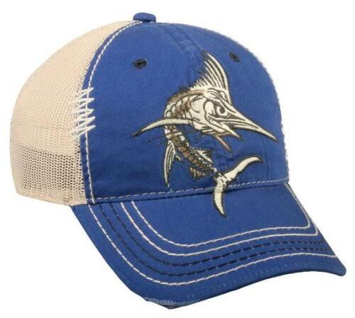 Outdoor Cap Swordfish Bones Mesh Back Cap Royal//Beige