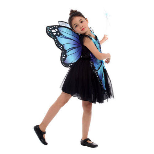 Halloween Butterfly Fairy Costume Pink Blue Elf Princess Cosplay Dress for Girl
