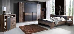 Schlafzimmer Schrank Bettanlage Sitzbank Beleuchtung Schlammeiche Schwarz Neu Furniture