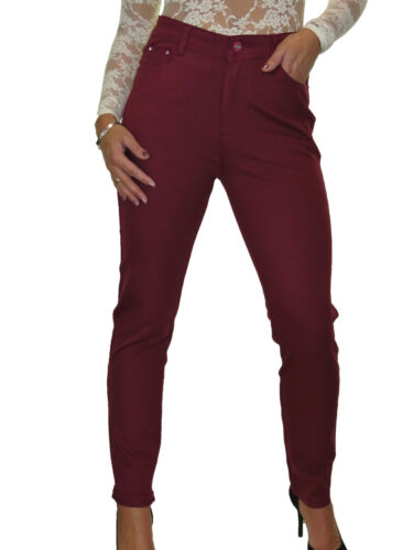 High Waist Stretch Thick Jersey Jeans Red Plum Burgundy NEW 10-24
