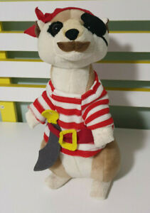 MEERKAT-PLUSH-TOY-DRESSED-AS-A-PIRATE-RED-WHITE-STRIPED-OUTFIT-STUFFED-ANIMAL
