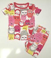 Gymboree Sleepwear White W/ Multi Color Owls A/o 2pc Pajamas 12 18