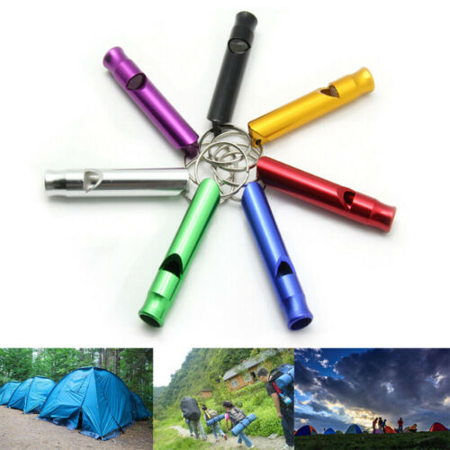 10Pcs Aluminum Emergency Whistle Tool Hiking Outdoor Survival Camping KeychainUK