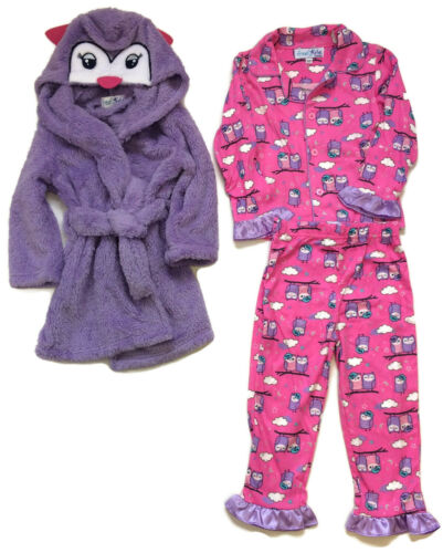 Freestyle Owl Bathrobe and Pajama Set for Girls Three-Piece Hooded Night Owl