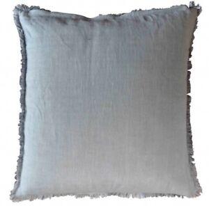 Artefina-Kissen-Bezug-grau-m-Fransen-Baumwolle-Leinen-Vintage-50-x-50-cm