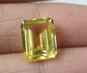Natural 7.30 Ct Yellow Sapphire Ceylon Gemstone Emerald Cut AGI Certified A25624