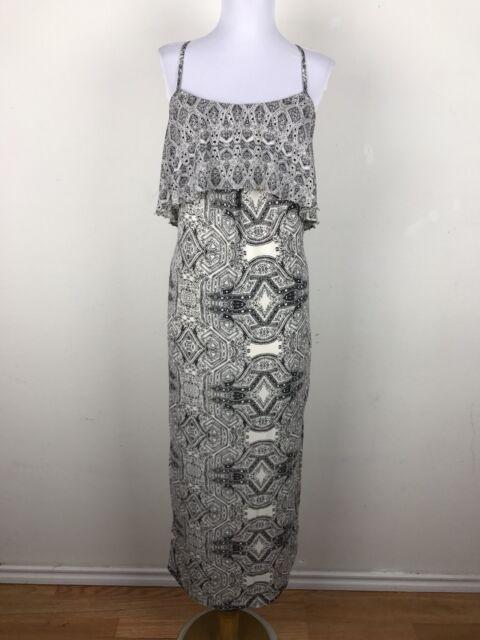 ff01832e41bf Vanessa Virginia Dress Size 0 Maxi Chiffon Baroque Floral Black Cream Fliese