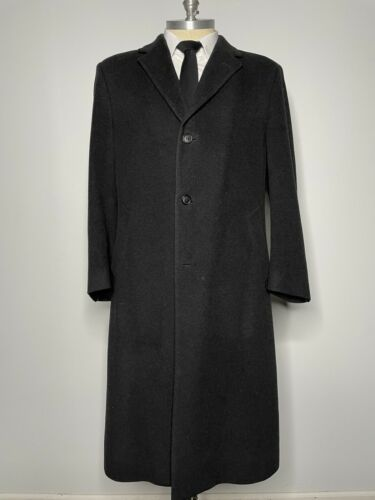 Bill Blass Overcoat Black Long Wool Coat Mens 44R