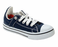 BOYS NAVY BLUE CANVAS LACE UP TRAINERS KIDS CASUAL PUMPS SHOES UK SIZE 10-3