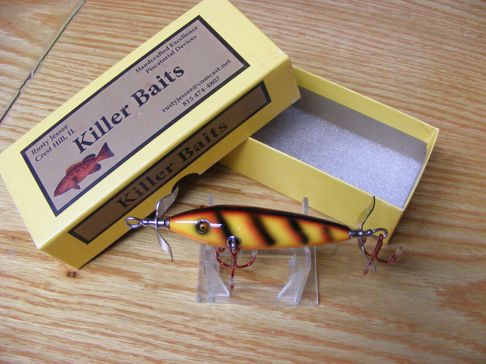 Killer Baits Rusty Jesse Heddon  Little Sac Style Glasseye 100 in Bar Perch color  we take customers as our god