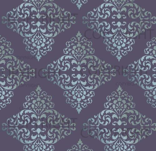 LARGE WALL DAMASK STENCIL PATTERN FAUX MURAL DECOR #1018 Choose Custom Size