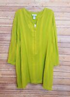 Liz & Me Lime Green Blouse 3/4 Sleeve Shirt 1/2 Button Plus Size 1x 18/20w