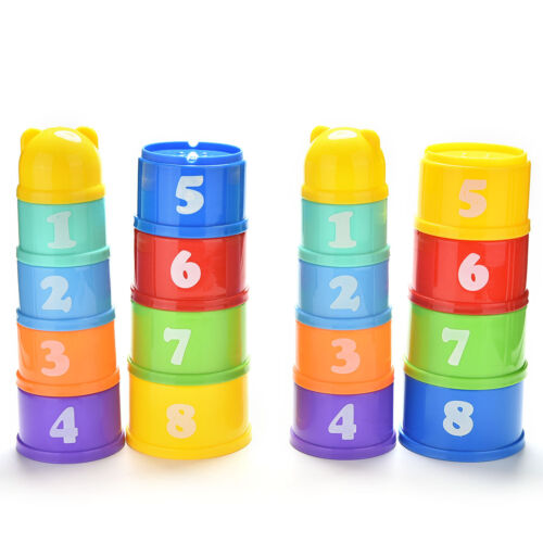 9X Stack/&Nest Plastic Cups Rainbow Stacking Tower Educational Stacking Kid To UL