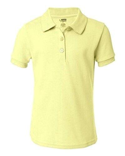 6b84e75d School Uniform Girls S/S Polo Yellow French Toast Picot Collar Shirt 10 New