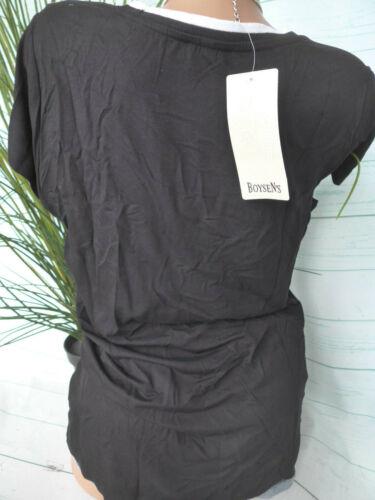 Vokuhila NEU 430 Boysens Shirt Bluse Damen Gr 44 bis 54 Schwarz Weiß