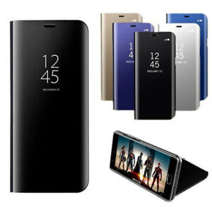 Transparent-View-Smart-Mirror-Leather-Flip-Case-Cover-For-Samsung-A6-A7-A8-2018