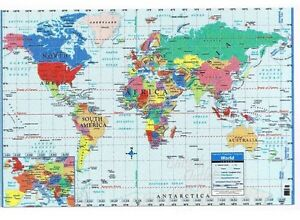 World map poster size wall decoration large map of world 40 x 28 image is loading world map poster size wall decoration large map gumiabroncs Gallery