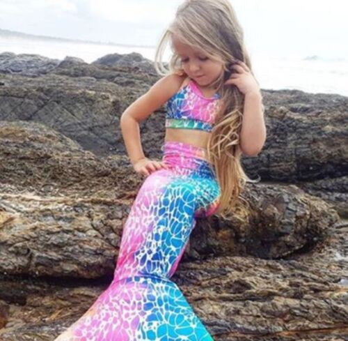 Top Set sz Available 2,4,6,8,10 kids FREE Post MERMAID LYCRA Swimming Tail
