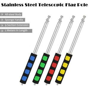 2M Stainless Steel Telescopic Flag Pole Teaching Pointer