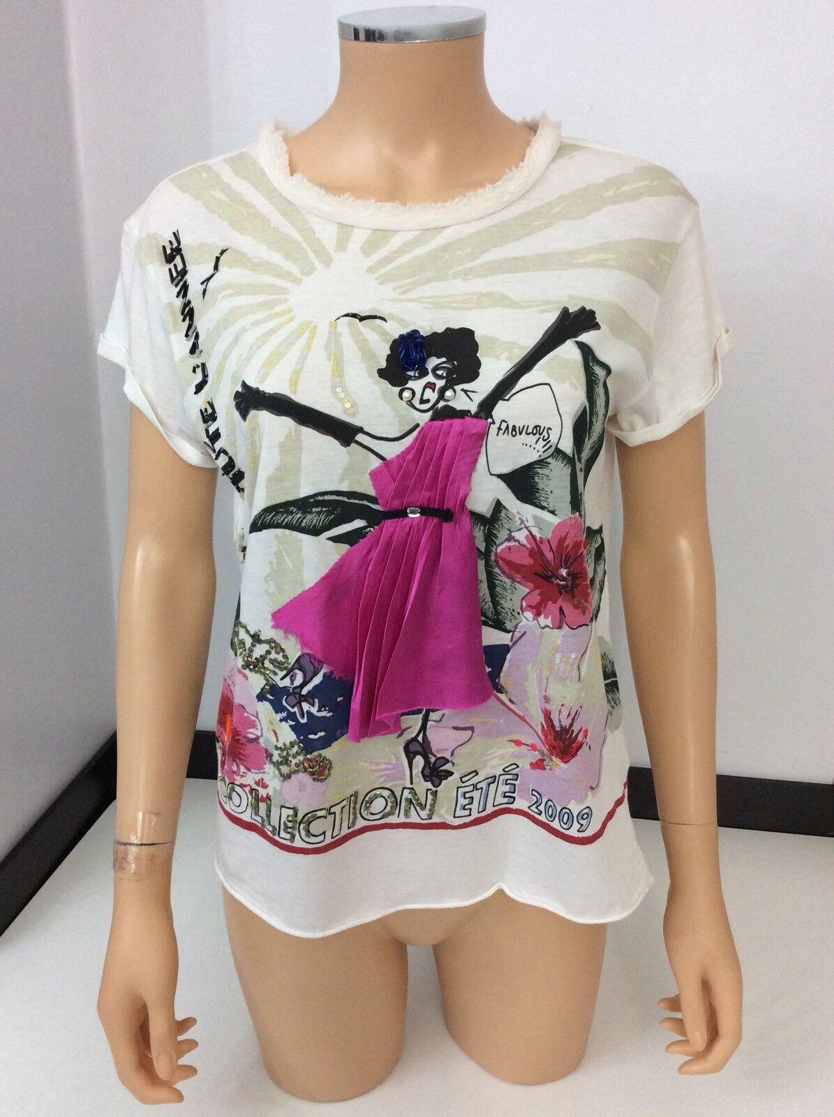 Lanvin Women's Short Sleeve T Shirt Top Size S  10 Silk Blend
