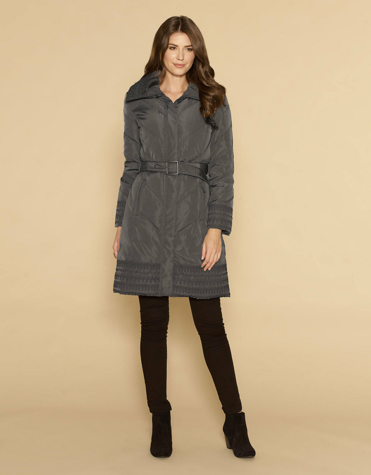 Monsoon Calista Embroidered Down and Feather Grey Coat ,UK Size ( S ) RRP-