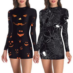 Women-Halloween-Pumpkin-Spider-Skeleton-Cosplay-Party-Short-Mini-Dress-Costumes