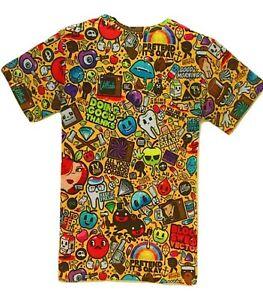 Cartoon-Graffiti-T-Shirt-Drole-Trippy-Dessins-Print-imprime-colore-tee