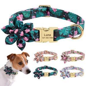 Blumen-Personalisiertes-Hundehalsband-Mit-Namen-Hundemarken-Garvur-Nylon-S-M-L