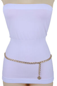 Women-Gold-Metal-Chain-Fashion-Waist-Hip-Belt-Vintage-Style-Coin-Charm-M-L-XL