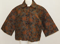 Keren Hart Brown Tapestry Jacket Size Medium Buttons 3/4 Sleeves Fall Leaves