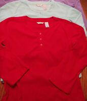 Adonna Size Small Long Sleeve Fleece Shirt Red Aqua Choice