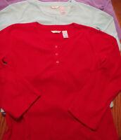 Adonna Size Small Long Sleeve Fleece Shirt Red Aqua Choice