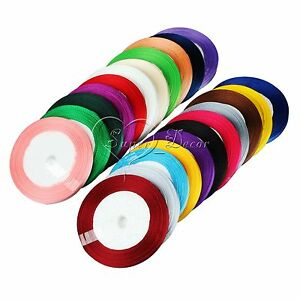 25-Yards-1-4-034-6mm-Satin-Ribbon-Bow-Wedding-Craft-Sewing-Decorations-Various-color