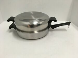 AMWAY-QUEEN-Multi-Ply-18-8-Stainless-Steel-Skillet-Chicken-Fryer-w-Dome-Lid-USA