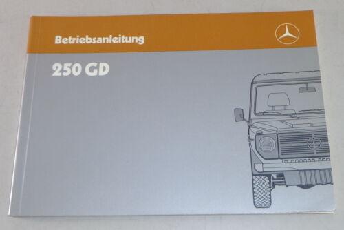 Manuale di istruzioni Mercedes Benz G-modello w460 250 DG di 08//1987
