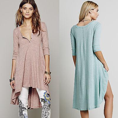 European Women's High-Low Top Maternity Tee Cotton T-shirt Plus Size Shirt Dress