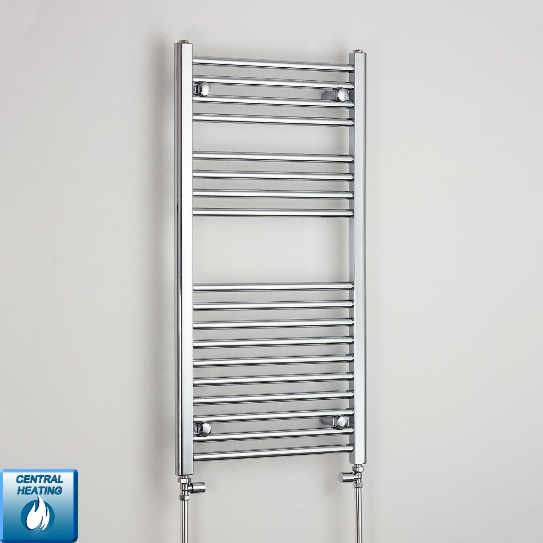 1000 x 600 Chrome Sèche-serviettes Radiateur Plat Courbé électrique & Gaz salle de bain