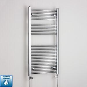 Details zu 1000 x 600 Chrome Heated Towel Rail Radiator Flat Curved  Electric & Gas Bathroom