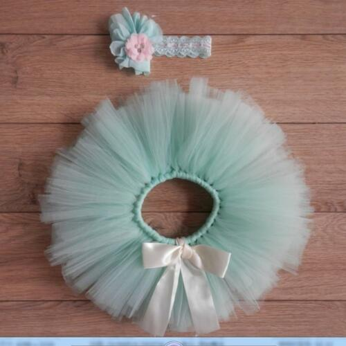 Newborn Infant Baby Girls Tutu Skirt With Flower Headband Set Photography Props