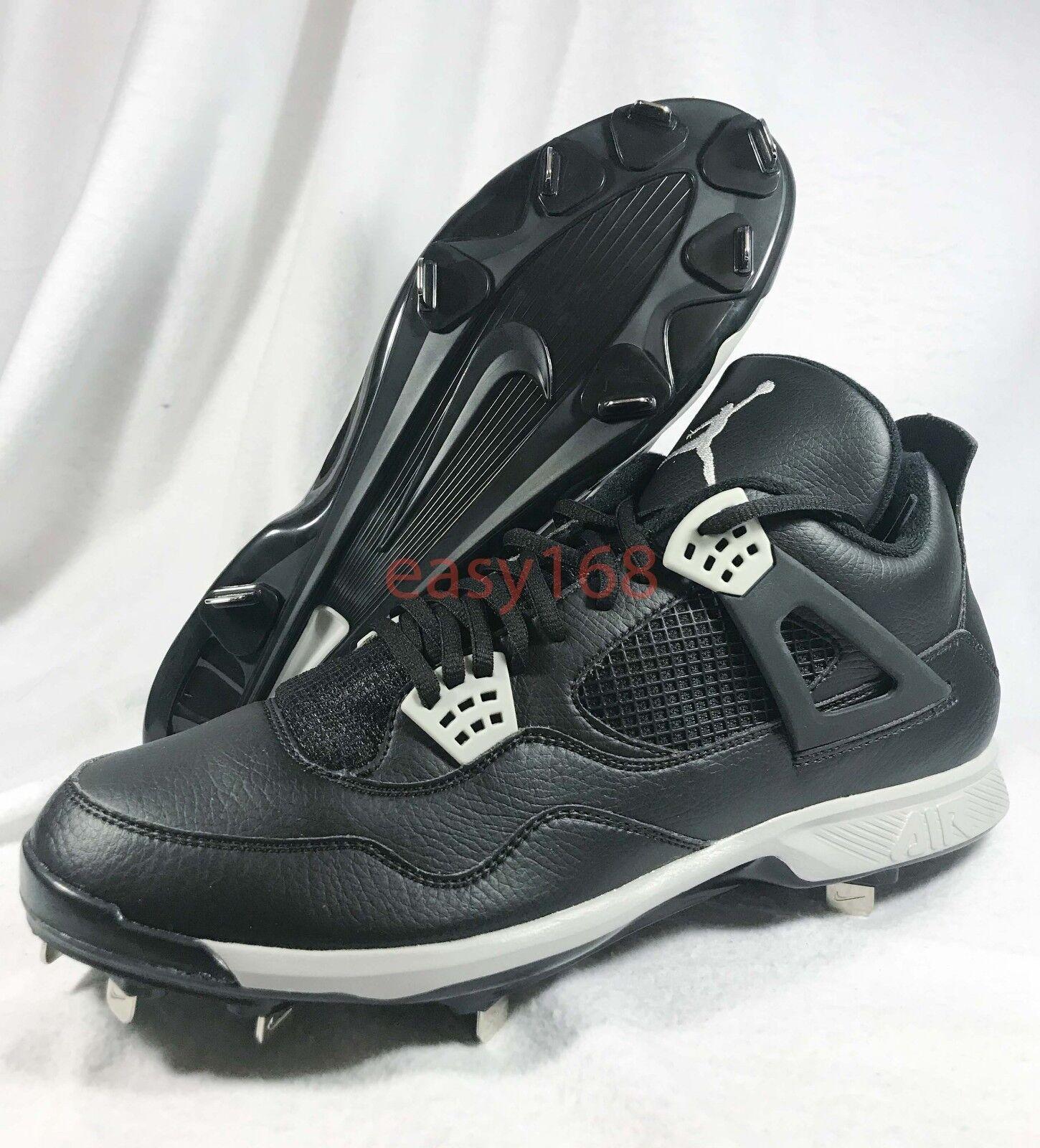 New Nike Air Jordan 4  Sz 13 Mens Metal Baseball Cleats Black Playoff Taxi