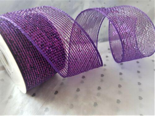 PURPLE  1m-5m  lengths /& Oddments Eleganza DECO MESH METALLIC Ribbon Christmas