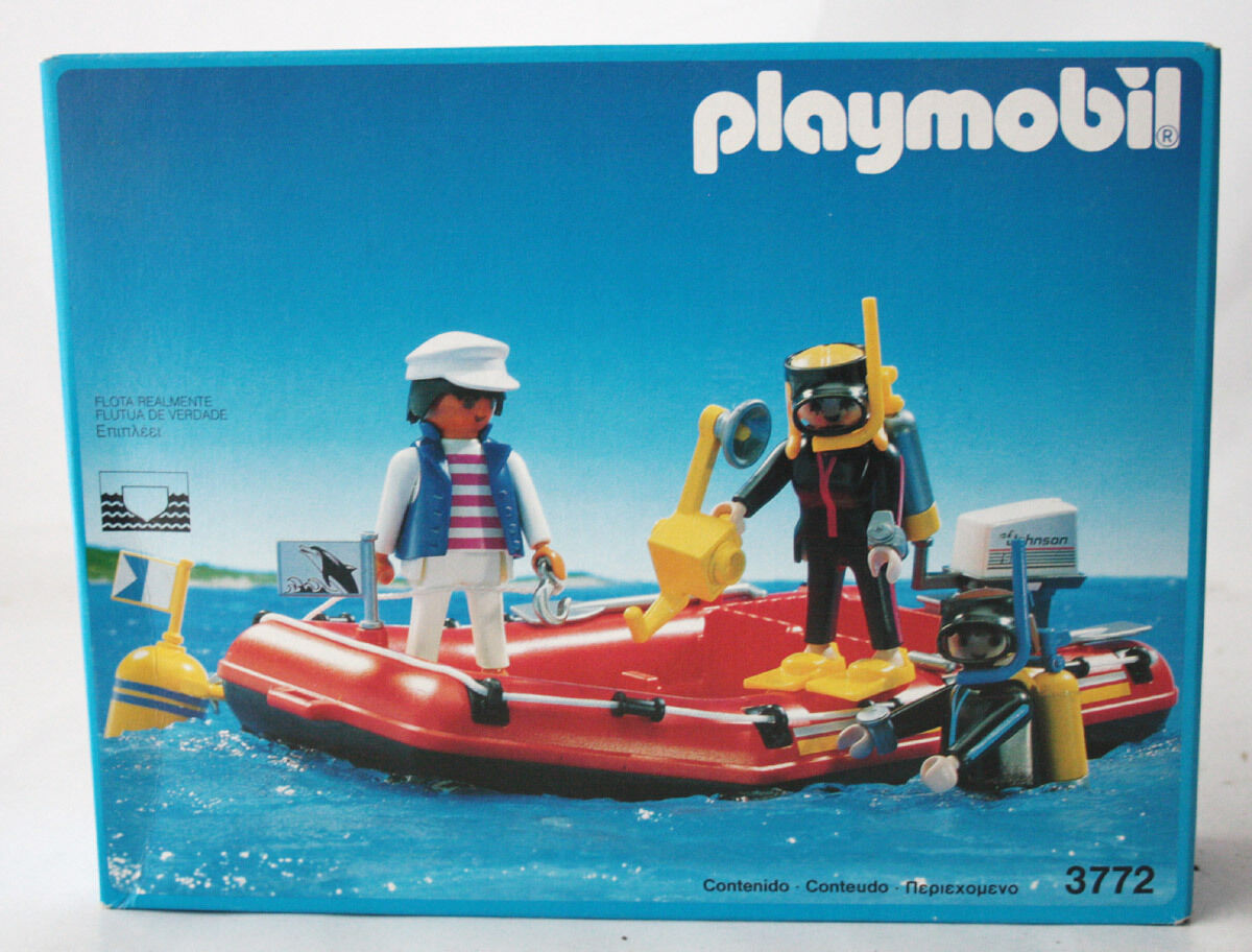 VERY  RARE VINTAGE 1993 PLAYMOBIL 3772 SCUBA DIVERS WITH RAFT SPAIN nuovo SEALED    vendite online