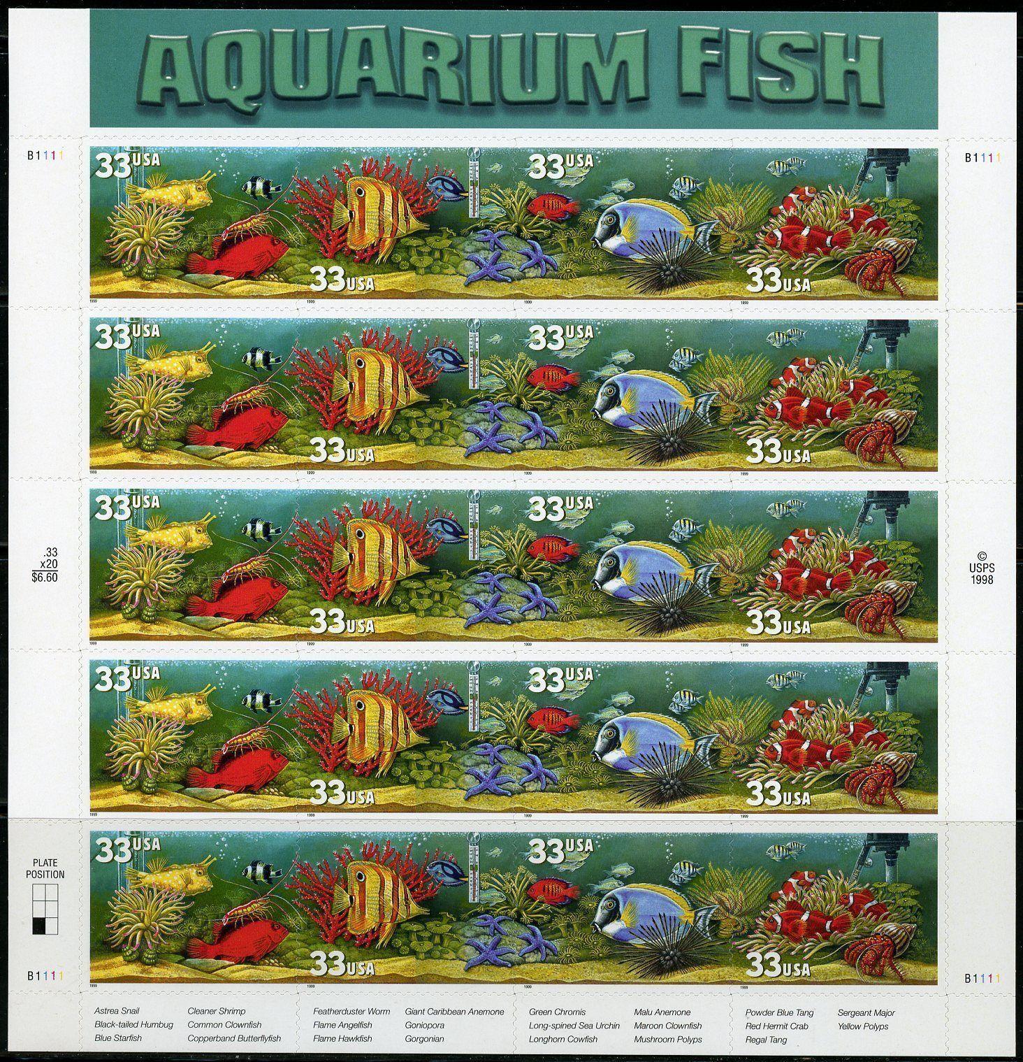 1999 33c Aquarium Fish, Sheet of 20 Scott 3317-20 Mint