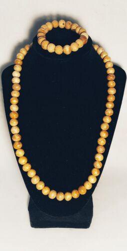1960s Men's Clothing   SET of 9mm Palo Santo Wood Beads 1 Necklace and 1 Bracelet Handmade $33.99 AT vintagedancer.com