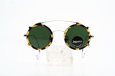 Attractive round eyeglasses with amber coloured clip by SUNROCK/France    F21K