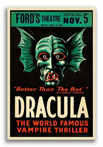 1928 Dracula Movie Poster 24x36 World Famous Vampire Thriller