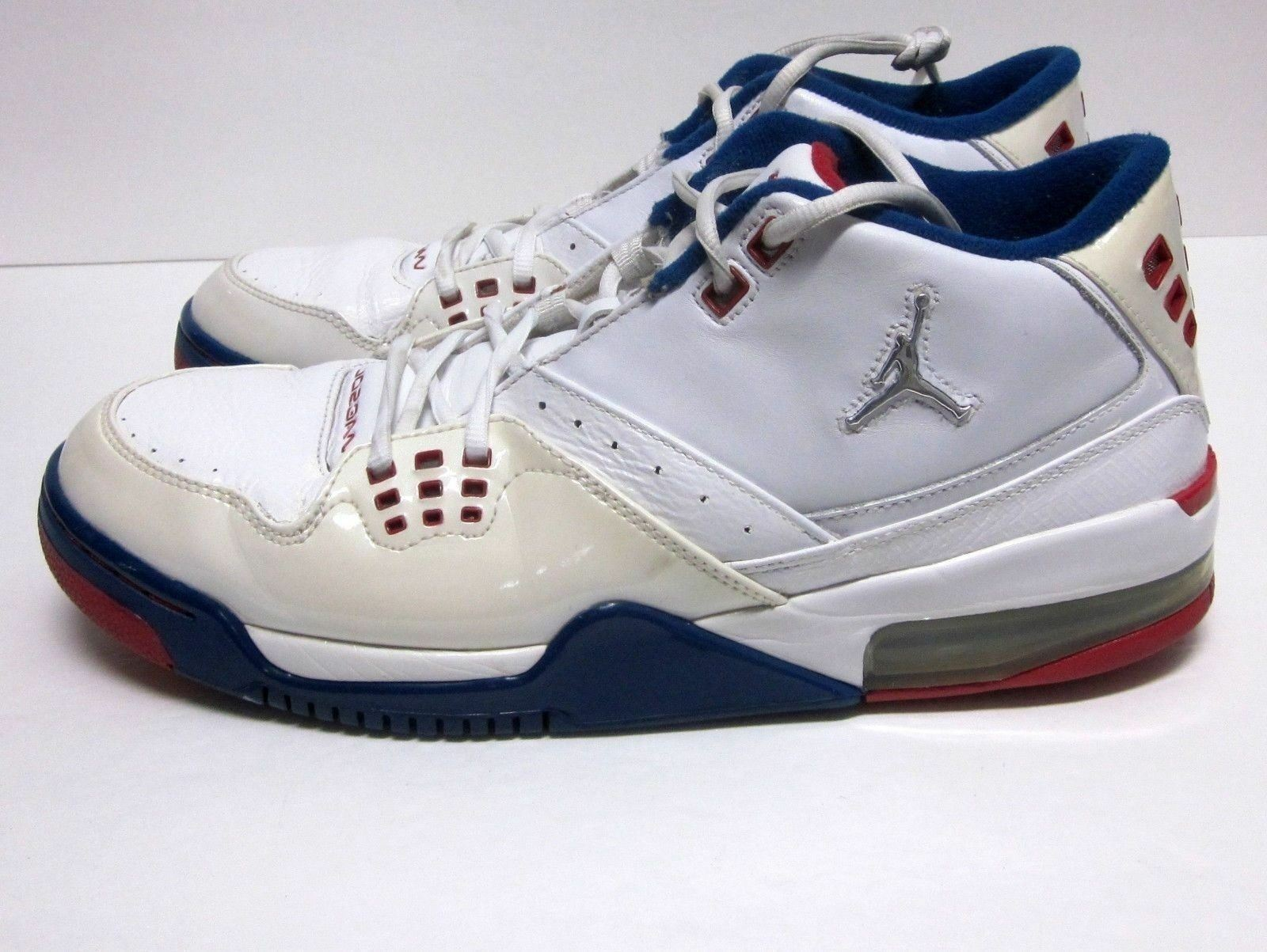 NIKE AIR JORDAN 2008 WHITE RED BLUE LEATHER BASKETBALL SHOES Price reduction 317820-109 Wild casual shoes