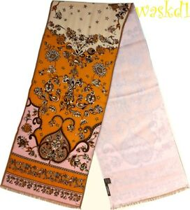 EMILIO-PUCCI-pink-amp-orange-Floral-TSARINA-Wool-Silk-2-ply-Long-scarf-NEW-Authent