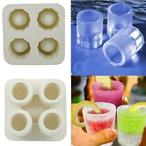silicone 4 cup shot glass mold cool shooters ice cube tray dishwasher safe new ebay. Black Bedroom Furniture Sets. Home Design Ideas