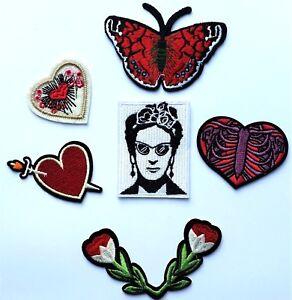 Saignement qualité Art sur Fleur Frida brodé fer Patch Kahlo Patch Coeur qxnFnOP1wR